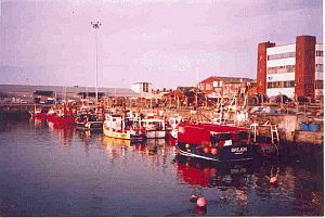 Lowestoft and the old harbour for fishing boats.