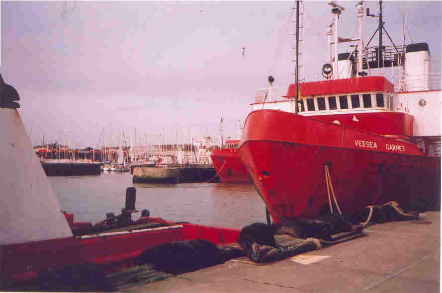 Stand by vessels in Lowestofts trawler basin