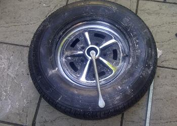 Tyre removal from Rostyle chrome wheels.