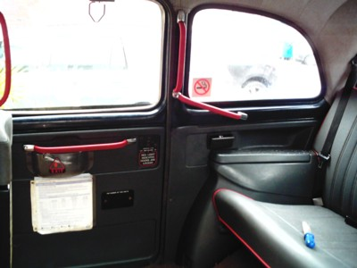 The original painted interior of a london black cab.